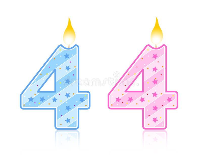 свечка 4 дней рождения иллюстрация вектора