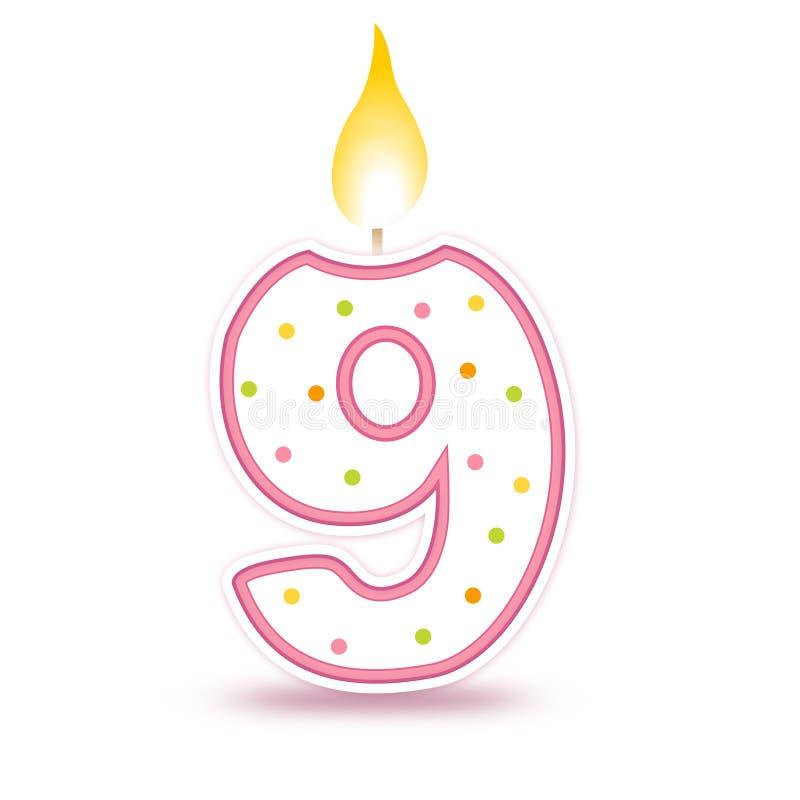 свечка 9 дней рождения иллюстрация вектора