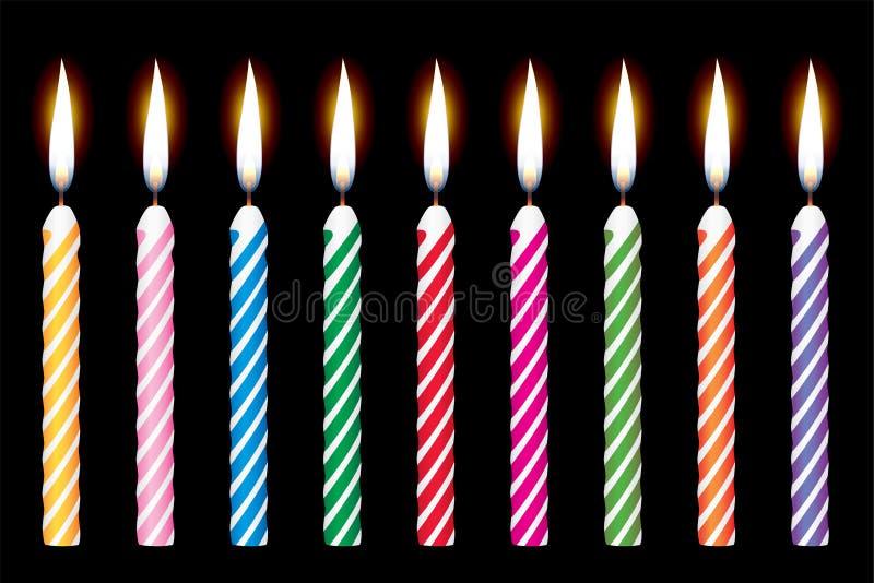 свечки дня рождения иллюстрация вектора