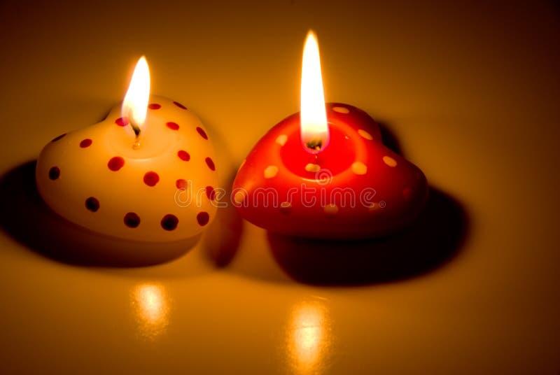 Свечки сердца форменные стоковая фотография rf