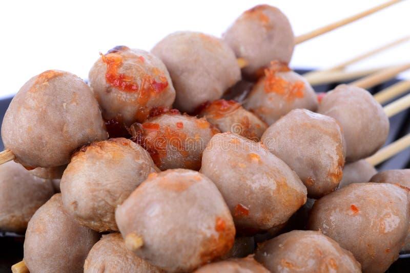 Свинина шарика мяса на белой предпосылке стоковое изображение