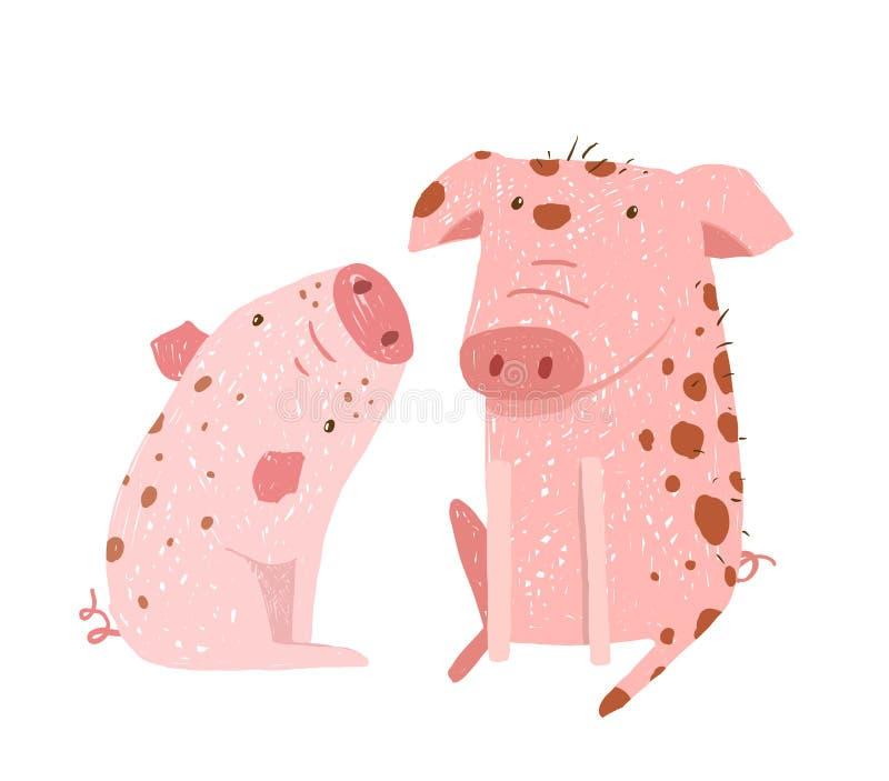 2 свиньи родитель и шарж ребенка иллюстрация вектора
