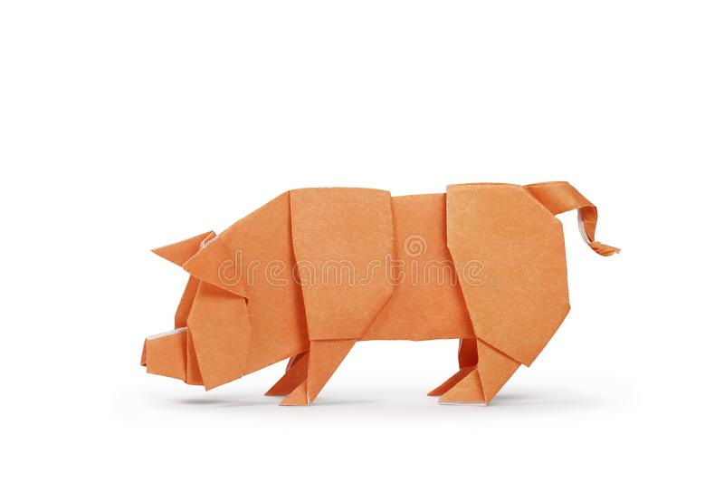 Свинья бумаги Origami Год свиньи Включенный путь клиппирования стоковые фотографии rf