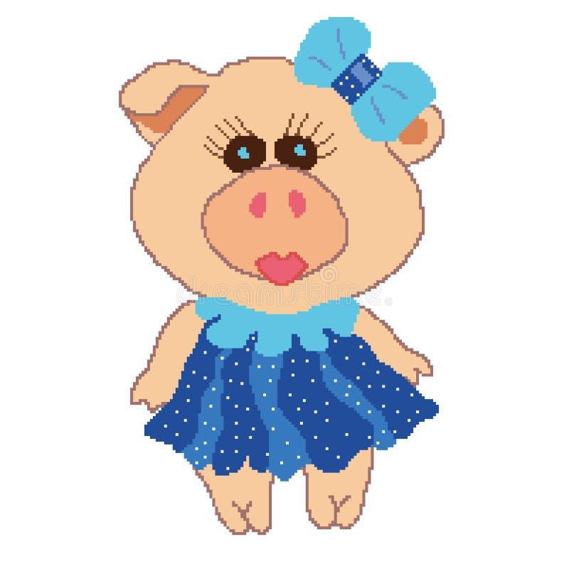 Свинья в голубом платье с белыми точками польки со смычком, покрашенным в квадратах, пикселы также вектор иллюстрации притяжки co иллюстрация вектора