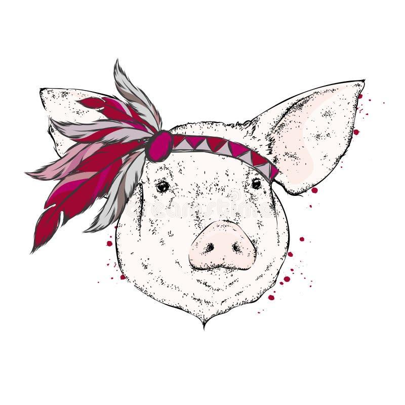 Свинья в индийском armband пера индийско также вектор иллюстрации притяжки corel бесплатная иллюстрация