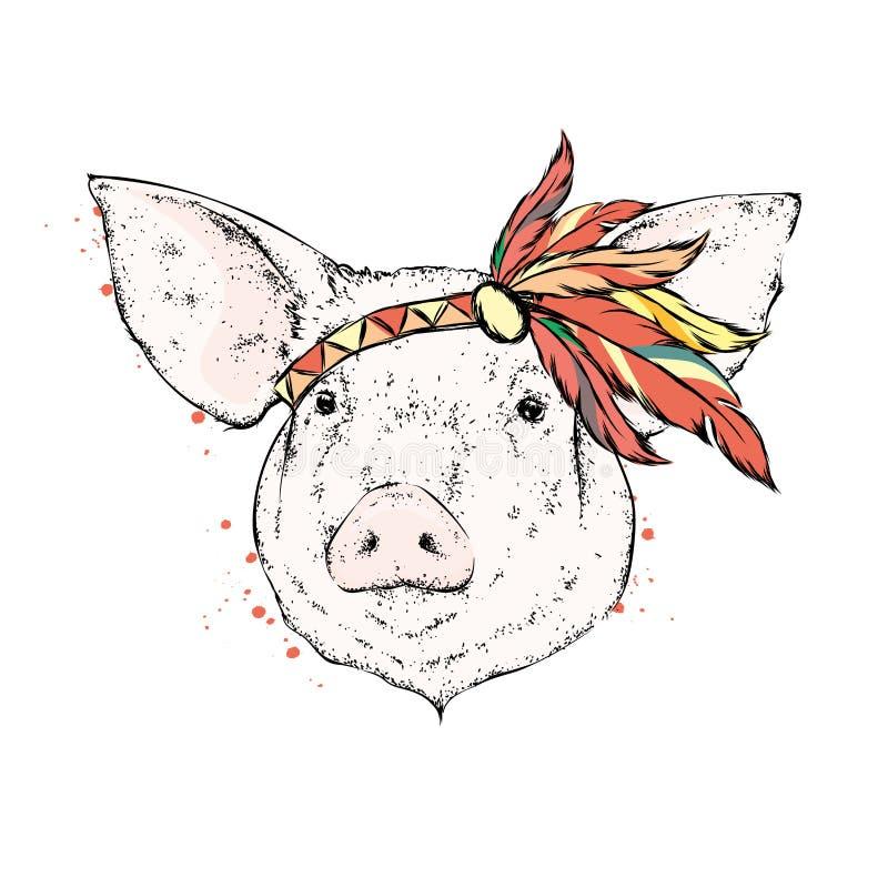 Свинья в индийском armband пера индийско также вектор иллюстрации притяжки corel иллюстрация штока