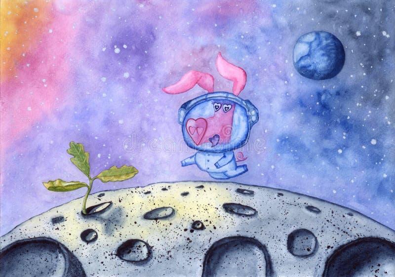 Свинья в космическом костюме находит новая жизнь на луне, рука нарисованная с акварелью иллюстрация штока