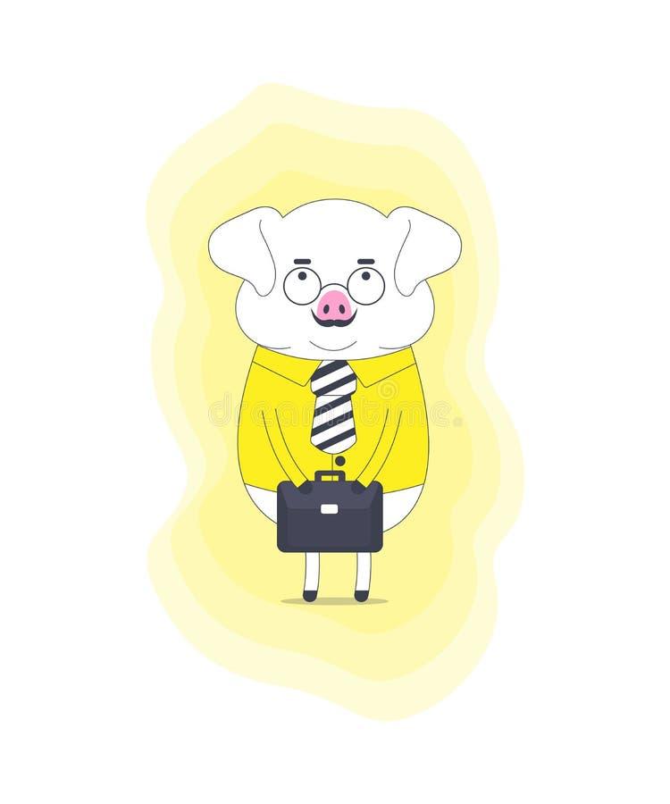Свинья в костюме со стеклами усика нося держа портфель иллюстрация вектора