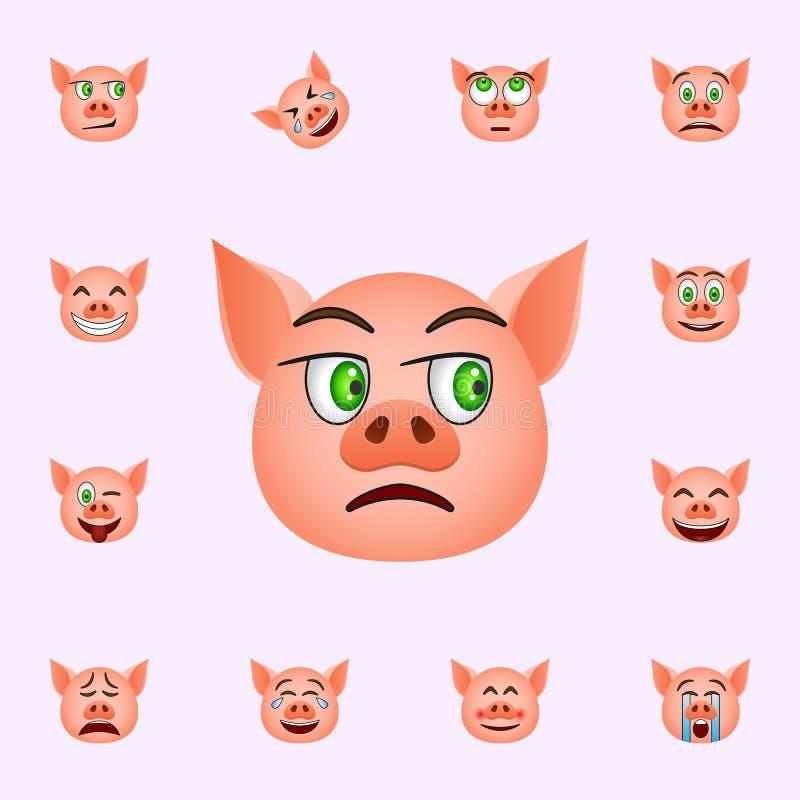 Свинья в нейтральном значке emoji Набор значков emoji свиньи всеобщий для сети и черни иллюстрация штока