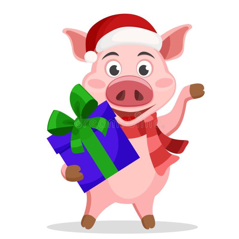 Свинья в подарочной коробке удерживания шляпы и шарфа и развевать его копыто на белом иллюстрация штока