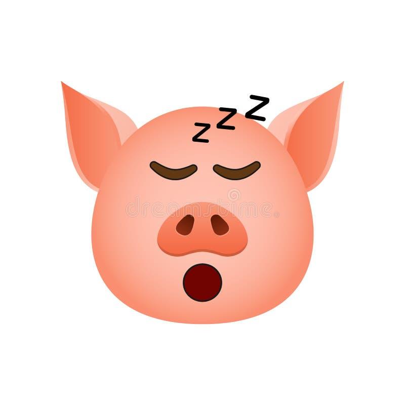 Свинья в уснувшем значке emoji Элемент значка символа Нового Года для мобильных приложений концепции и сети Детализированная свин иллюстрация вектора