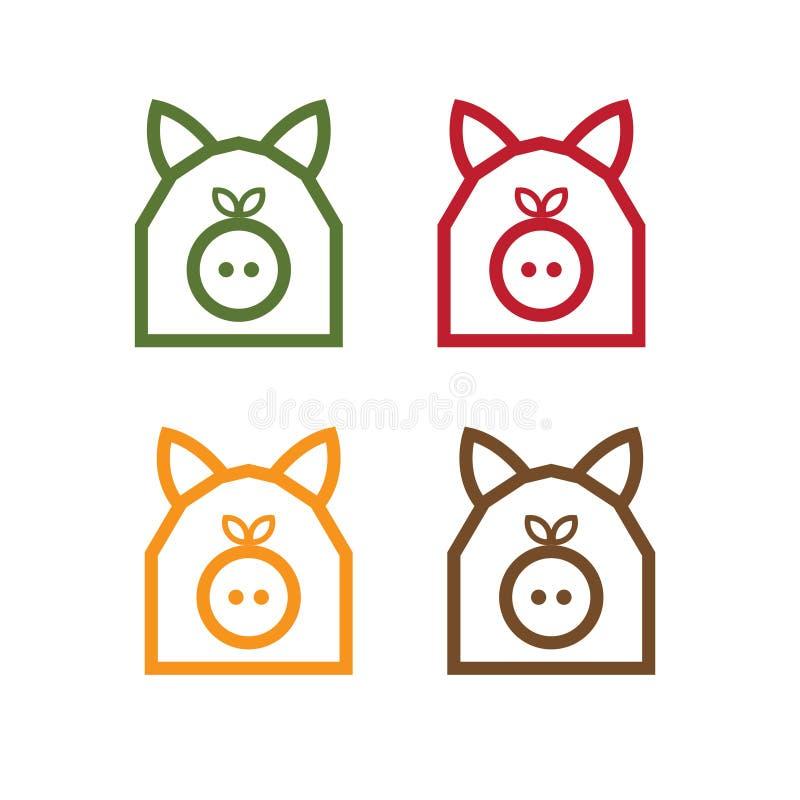Свинья в форме дизайна вектора амбара простого иллюстрация вектора