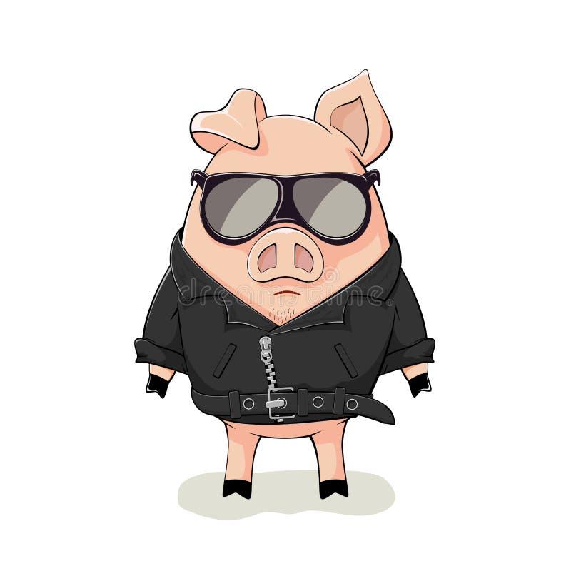 Свинья в черной кожаной куртке иллюстрация штока
