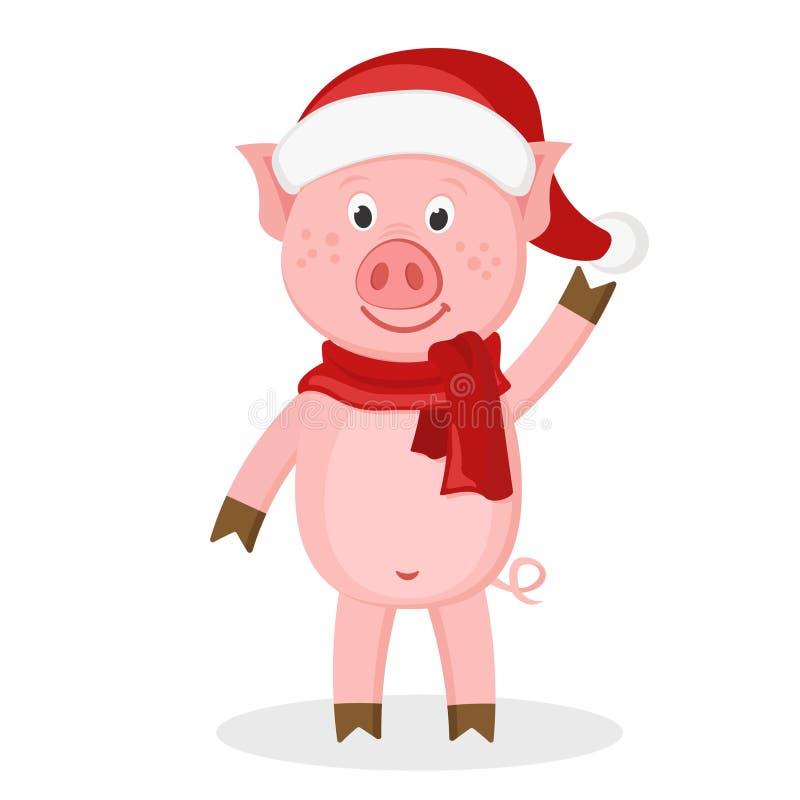 Свинья в шляпе и шарфе развевая его копыто на белизне Характер на Новый Год бесплатная иллюстрация