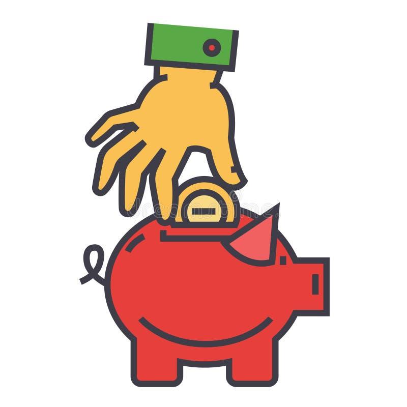 Свинья денег, сбережения, счастливая копилка, рука положила монетку в безопасную концепцию иллюстрация штока