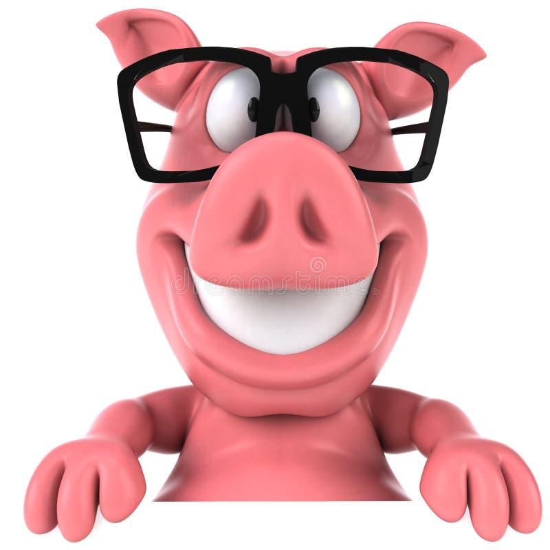 Свинья и стекла иллюстрация штока