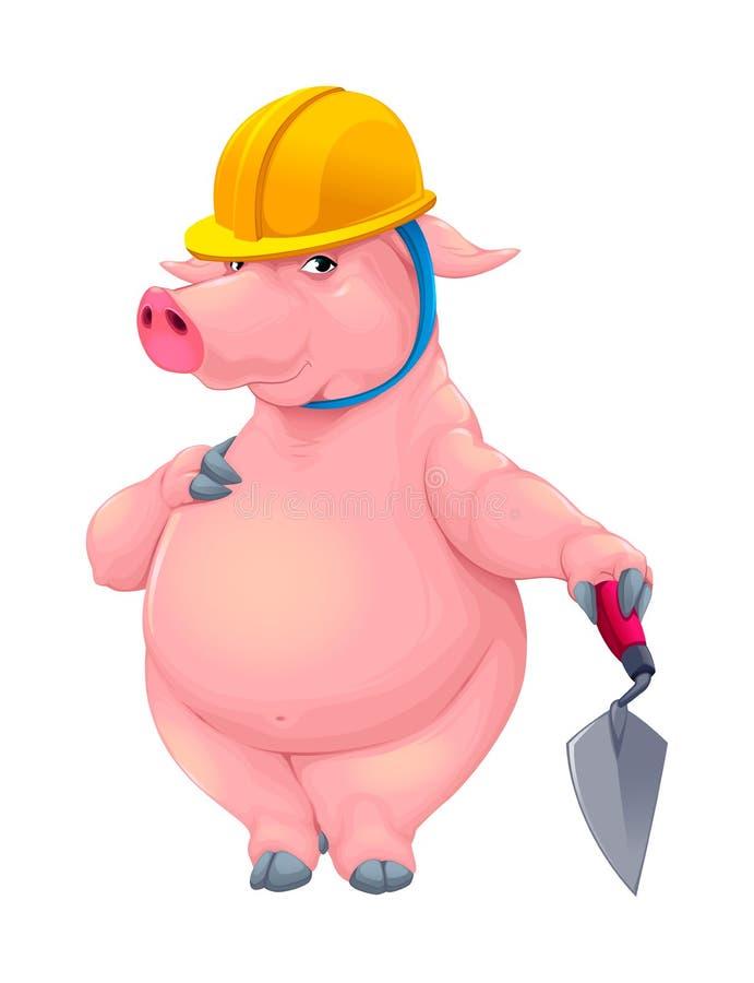 Свинья каменщика с инструментом иллюстрация штока
