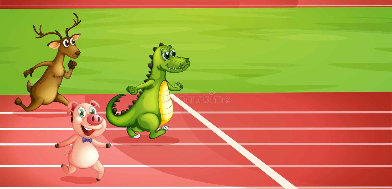 Свинья, крокодил и ход оленей бесплатная иллюстрация