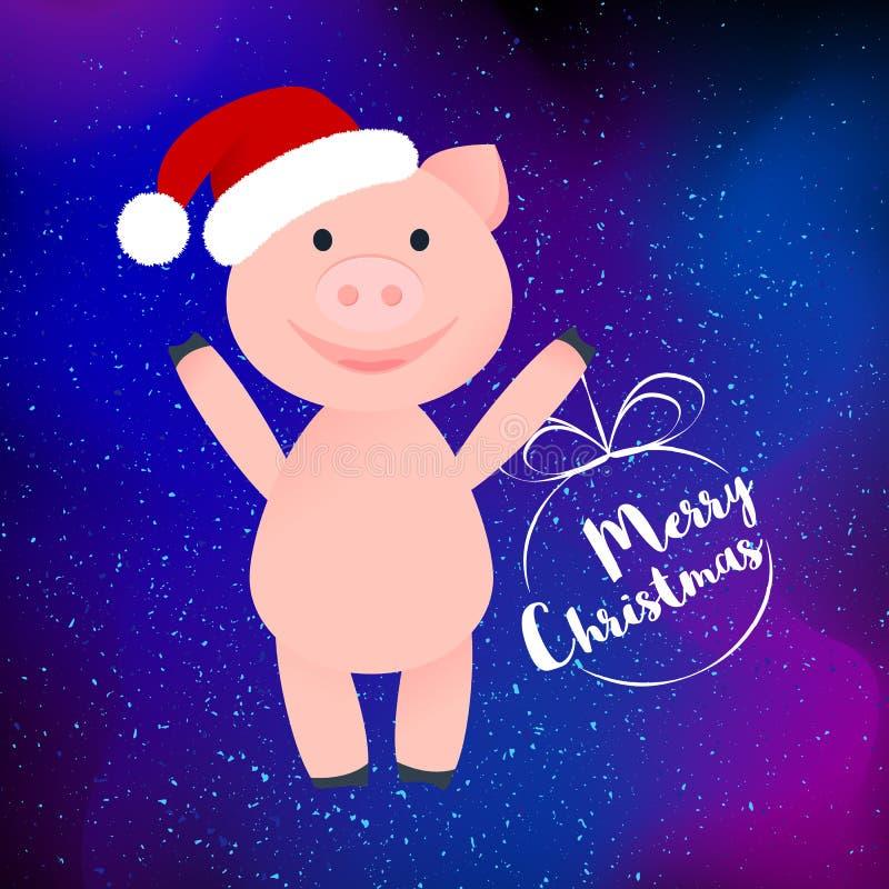 Свинья мультфильма счастливая в шляпе Санта Clauss изолировала иллюстрация вектора