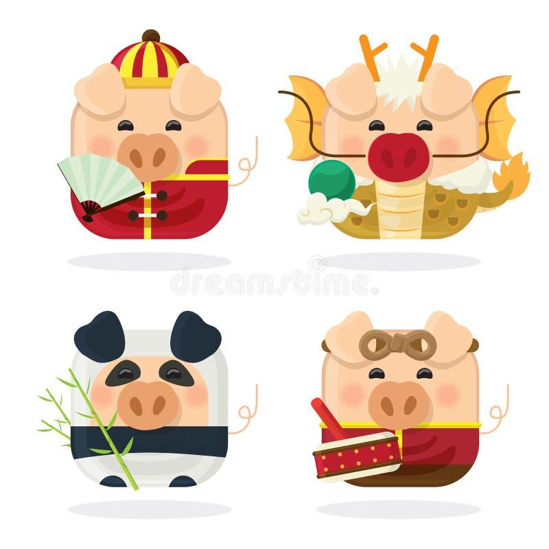 Свинья набора 4 значка и китайский Новый Год 2019 с милым piggy персонажем из мультфильма иллюстрация вектора