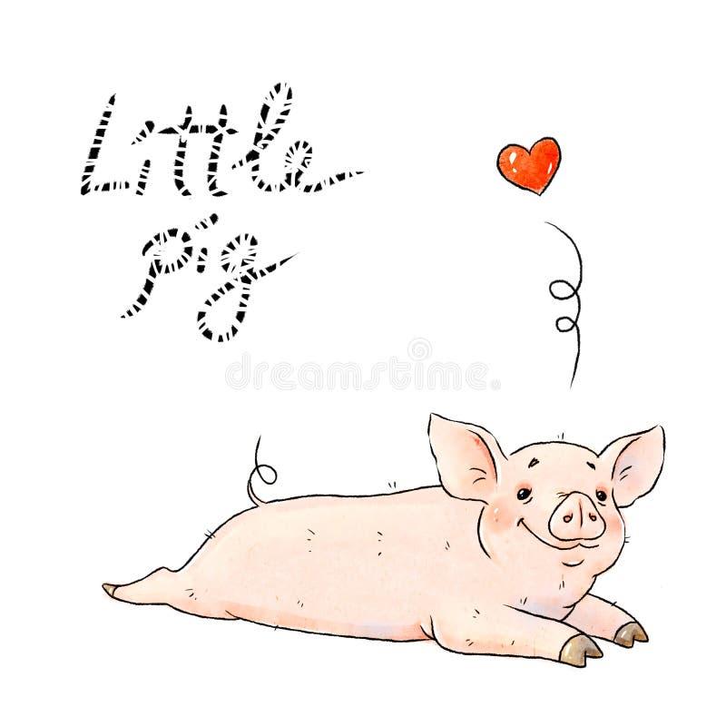 Свинья нарисованная рукой капризная Милый смешной поросенок изолированный на белой предпосылке Символ зодиака свиньи китайский го иллюстрация вектора
