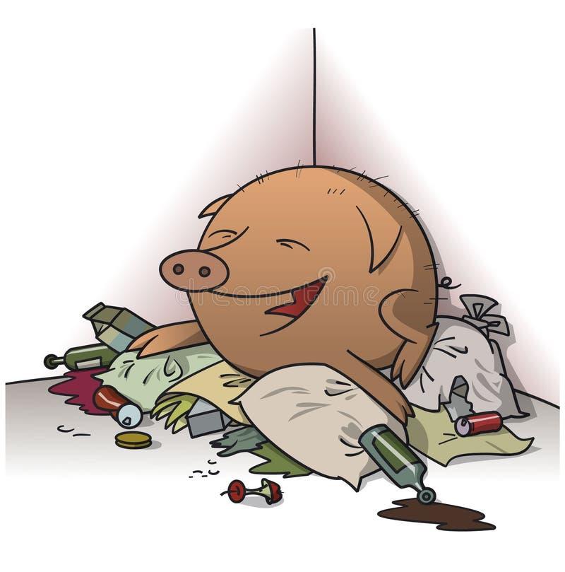 Свинья на куче отброса иллюстрация вектора