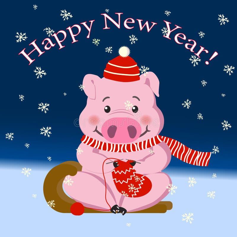 Свинья, символ 2019, Новый Год, праздник Милая свинья вяжет носок иллюстрация штока