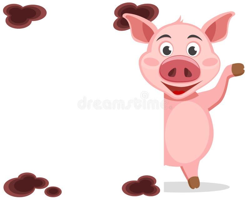 Свинья смотрит вне от за белого экрана и развевать его копыто иллюстрация штока