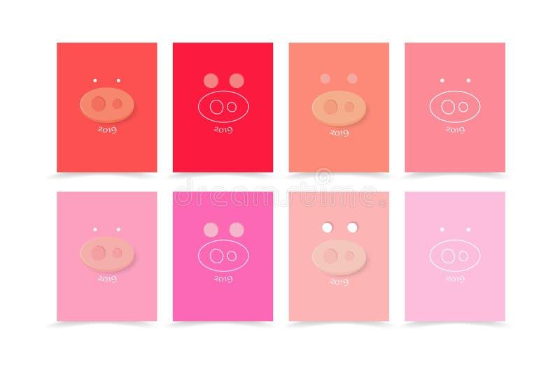 Свинья, сторона, 2019, счастливый Новый Год, книга крышки праздника счастья создавая программу-оболочку вектор предпосылки стиля  бесплатная иллюстрация