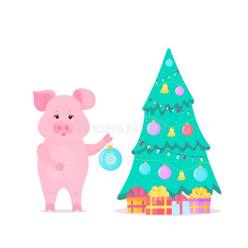 Свинья украшает рождественскую елку предпосылка кладет подарки в коробку изолировала белизну китайское Новый Год иллюстрация вектора