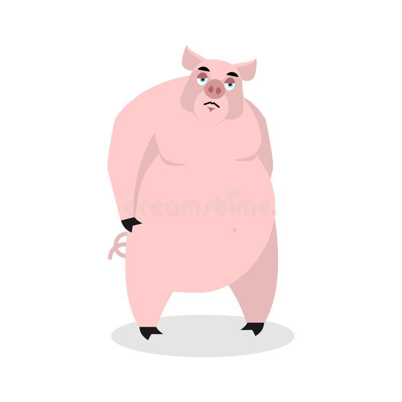 свинья унылая Большая тучная тоска хряка скорбный боров Пониженное животное иллюстрация штока