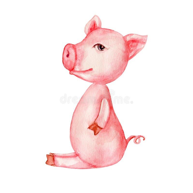 Свинья шаржа акварели милая розовая изолированная на белой предпосылке, домашнем животном красочного фермера иллюстрации, дизайне бесплатная иллюстрация