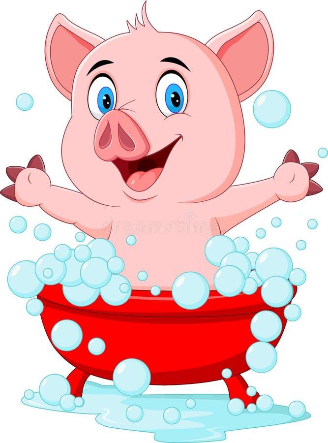Свинья шаржа купая развевая руку бесплатная иллюстрация