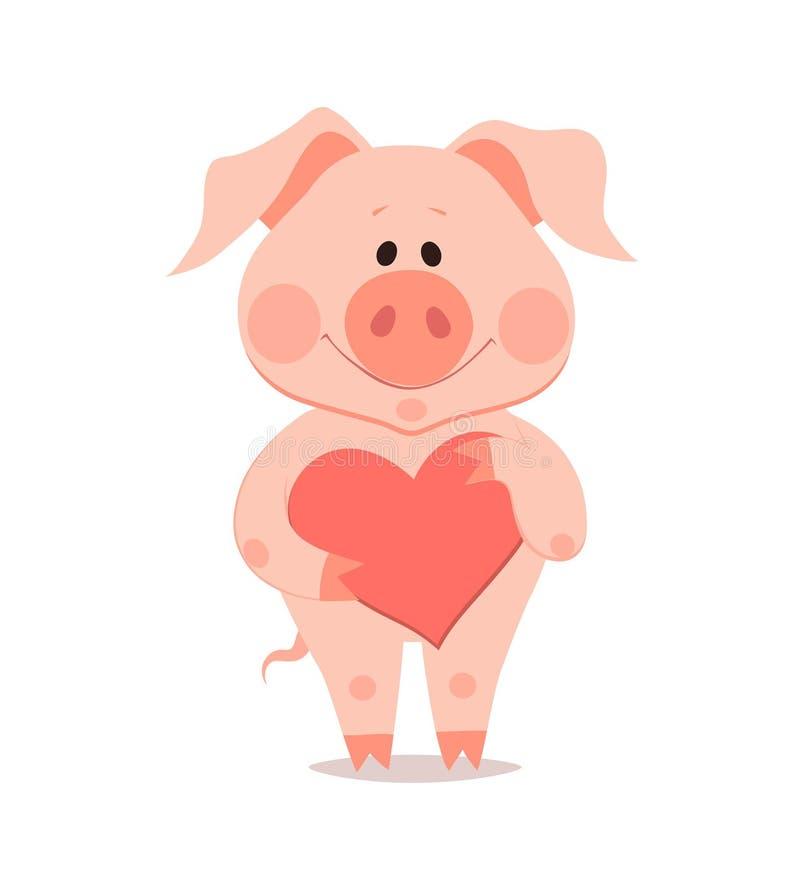 Свинья шаржа маленькая с сердцем в руке Год свиньи подбородок бесплатная иллюстрация