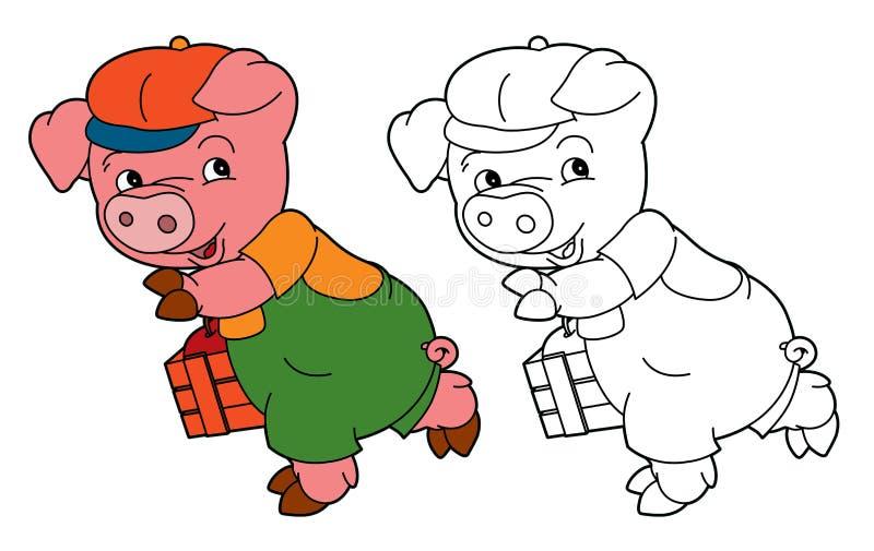 Свинья шаржа молодая в обмундировании работы смотря/изолировала страницу расцветки бесплатная иллюстрация