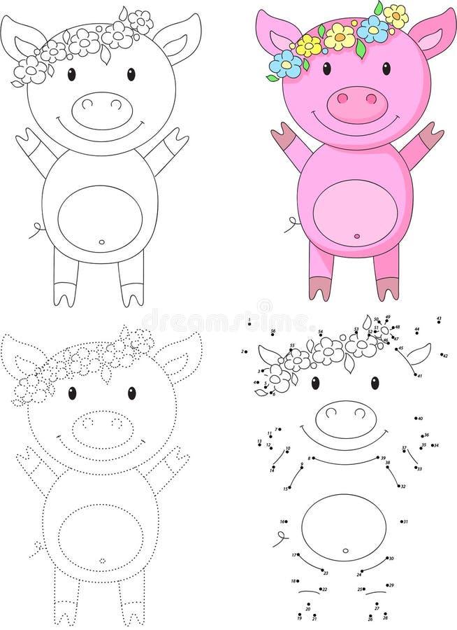 Свинья шаржа также вектор иллюстрации притяжки corel Точка для того чтобы поставить точки игра для детей иллюстрация вектора