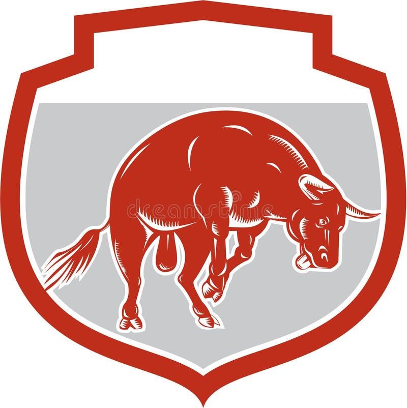 Свирепствуя поручать Bull скача атакуя ретро иллюстрация штока