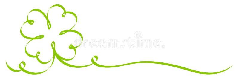 Свирли ленты 2 Shamrock каллиграфии одиночные зеленые иллюстрация штока