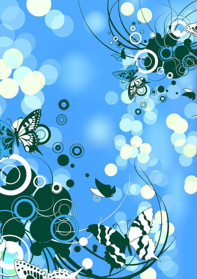 свирль голубых бабочек флористическая иллюстрация вектора