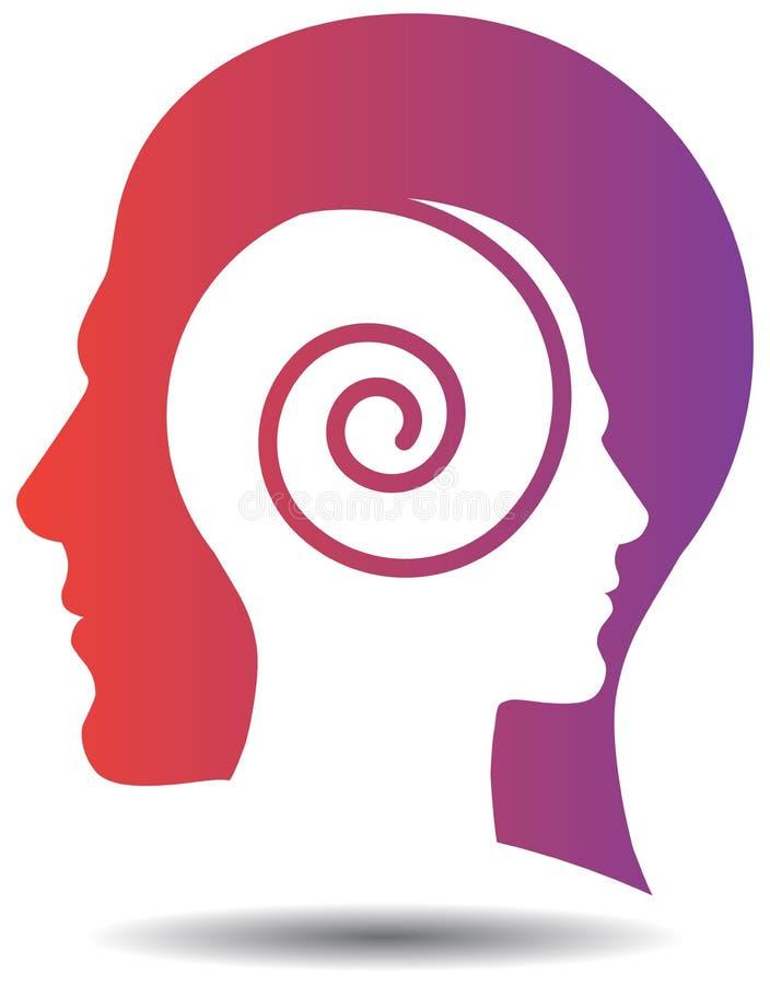 Свирль разума с головным логотипом иллюстрация штока