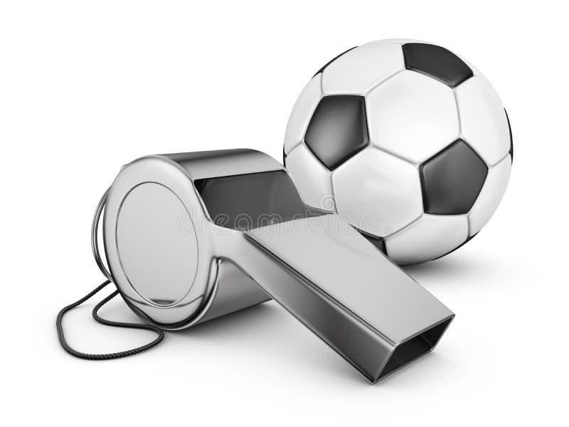 Свисток и футбольный мяч иллюстрация вектора