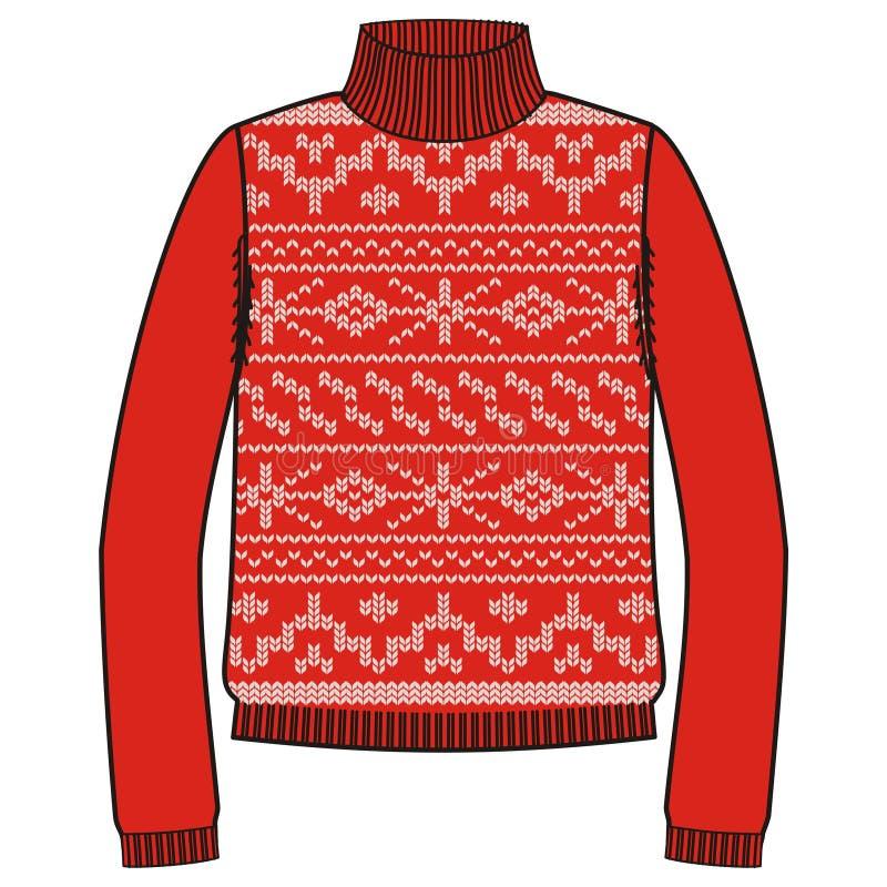 Свитер зимы теплый handmade, svitshot, шлямбур для цвета knit, красных и белых Дизайн - картина жаккарда снежинок иллюстрация штока