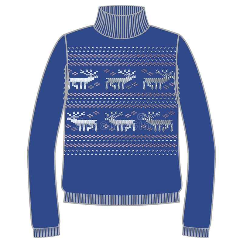 Свитер handmade, svitshot зимы теплый, шлямбур для knit, черного цвета Дизайн - снежинки, картина жаккарда северного оленя иллюстрация штока