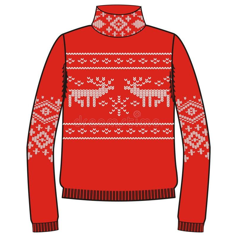 Свитер handmade, svitshot зимы теплый, шлямбур для knit, черного цвета Дизайн - снежинки, картина жаккарда северного оленя иллюстрация вектора