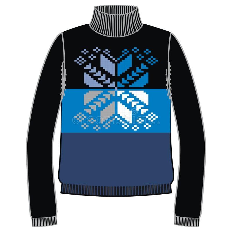 Свитер handmade, svitshot зимы теплый, шлямбур для knit, черного цвета Свитеры женщин, свитер людей, unisex свитер иллюстрация вектора