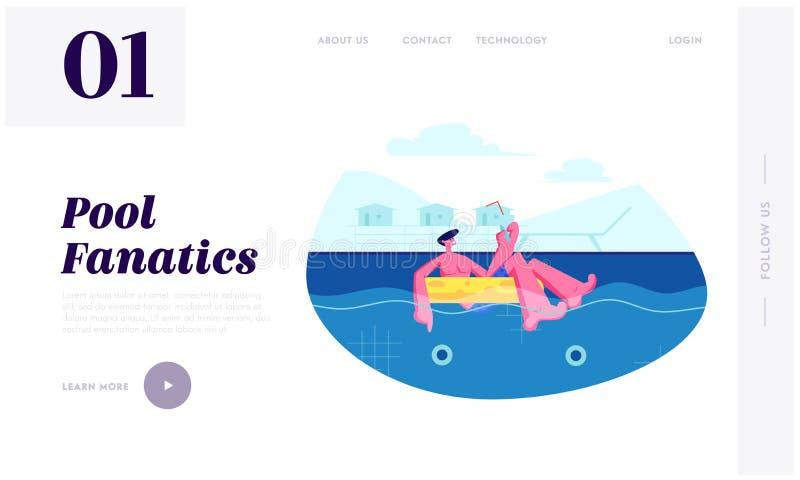 Свободное время лета, человек наслаждаясь коктейлем плавая на раздувное кольцо в бассейне Туристский ослаблять на курорте иллюстрация штока