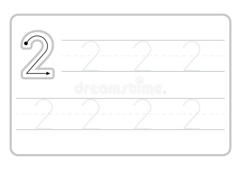 Свободные страницы почерка для записи номеров уча номера, номера следуя рабочее лист для детского сада иллюстрация вектора
