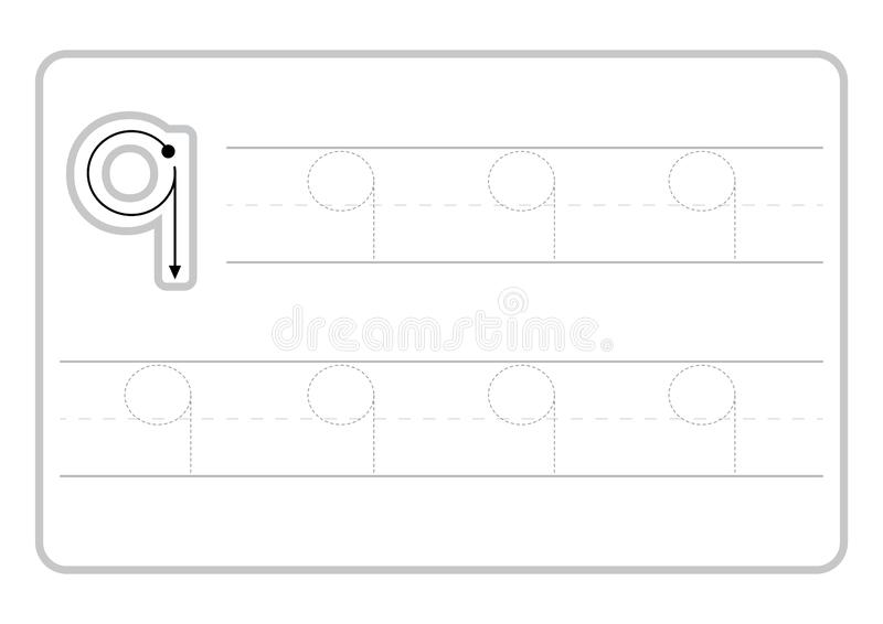 Свободные страницы почерка для записи номеров уча номера, номера следуя рабочее лист для детского сада иллюстрация штока