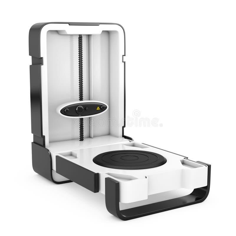Свободный стоящий современный блок развертки дома 3D настольного компьютера перевод 3d иллюстрация штока
