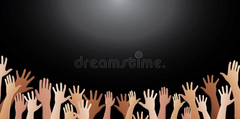 Свободные руки поднимают предпосылку вектора иллюстрация штока